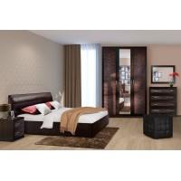 МН для спальни Кэт-1 Вариант 3 венге Linum/Caiman коричневый