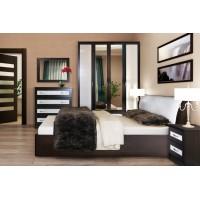 МН для спальни Кэт-1 Вариант 2 венге Linum/Caiman белый