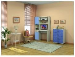 Стол компьютерный Юнайтед с Фасадами (комплект 2 шт.) ясень белый/голубой