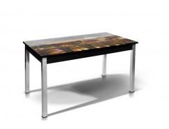 Стол обеденный Лугано со стеклом фотопечать Рим