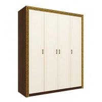 Шкаф для одежды Айрум дуб кальяри/белый/ПВХ кремовый металлик глянец/профиль золото с орнаментом
