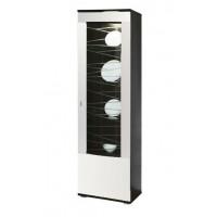 Шкаф-пенал 06.110 (правое/левое) венге/белый глянец снег/стекло светлое гнутое с пескоструем