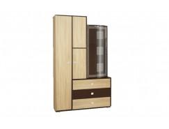 Шкаф 21.72 венге/дуб сонома/профиль венге/стекло тонированное гнутое с пескоструем