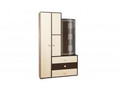 Шкаф 21.72 венге/дуб линдберг/профиль венге/стекло тонированное гнутое с пескоструем