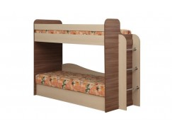 Кровать двухъярусная Адель - 4 ясень шимо темный/дуб линдберг/ткань Астра/ткань поликоттон стеганный