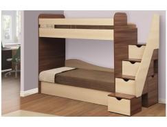 Кровать двухъярусная Адель - 3 ясень шимо темный/дуб линдберг/ткань Астра/ткань поликоттон стеганный