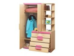 Шкаф комбинированный Лайф - 1 дуб линдберг/розовый