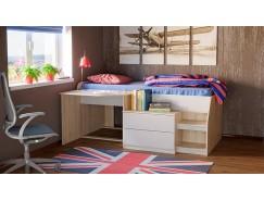 Кровать комбинированная Тони - 12 дуб сонома/белый