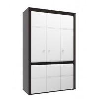 Шкаф для одежды Камила венге/венге/ПВХ белый глянец снег
