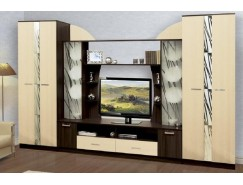 Гостиная Софи Н венге/дуб линдберг/зеркало/стекло светлое гнутое с пескоструем