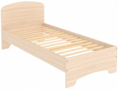 Кровать одноместная с ортопедическим основанием КМ09 молочный дуб