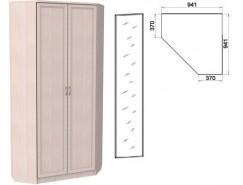 Шкаф угловой со штангой и полками 401+1 зеркало 3100 молочный дуб