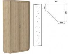 Шкаф угловой со штангой и полками 401+1 зеркало 3100 дуб сонома