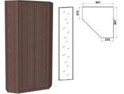 Шкаф угловой со штангой и полками 401+1 зеркало 3100 ясень шимо