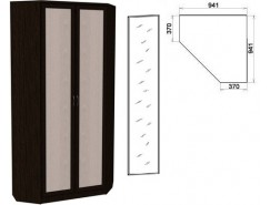 Шкаф угловой со штангой и полками 401+1 зеркало 3100 венге