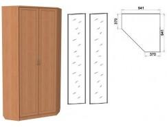 Шкаф угловой со штангой и полками 401+2 зеркала 3100 ольха