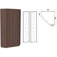 Шкаф угловой со штангой и полками 401+2 зеркала 3100 ясень шимо