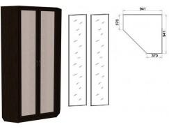 Шкаф угловой со штангой и полками 401+2 зеркала 3100 венге