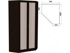 Несимметричный угловой шкаф со штангой и полками 403 венге