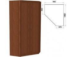Несимметричный угловой шкаф со штангой и полками 403 дуб