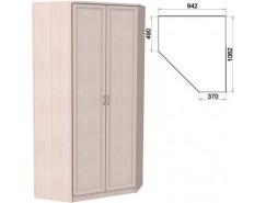 Несимметричный угловой шкаф со штангой и полками 403 молочный дуб
