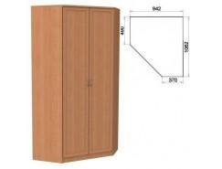 Несимметричный угловой шкаф со штангой и полками 403 ольха