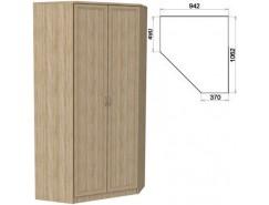 Несимметричный угловой шкаф со штангой и полками 403 дуб сонома