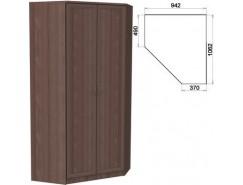 Несимметричный угловой шкаф со штангой и полками 403 ясень шимо