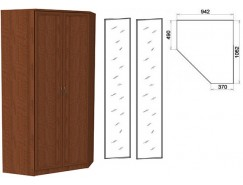 Несимметричный угловой шкаф со штангой и полками 403+2 зеркала 3100 дуб