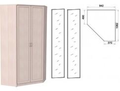 Несимметричный угловой шкаф со штангой и полками 403+2 зеркала 3100 молочный дуб