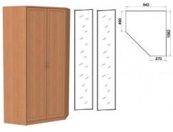Несимметричный угловой шкаф со штангой и полками 403+2 зеркала 3100 ольха