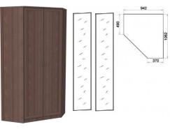 Несимметричный угловой шкаф со штангой и полками 403+2 зеркала 3100 ясень шимо