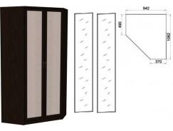 Несимметричный угловой шкаф со штангой и полками 403+2 зеркала 3100 венге