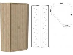 Несимметричный угловой шкаф со штангой и полками 403+2 зеркала 3100 дуб сонома