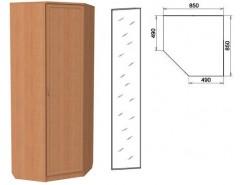 Шкаф угловой со штангой и полками 400+зеркало 3400 ольха