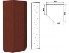 Шкаф угловой со штангой и полками 400+зеркало 3400 итальянский орех