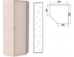 Шкаф угловой со штангой и полками 400+зеркало 3400 молочный дуб
