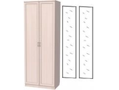 Шкаф для белья со штангой 100+2 зеркала 3100 молочный дуб