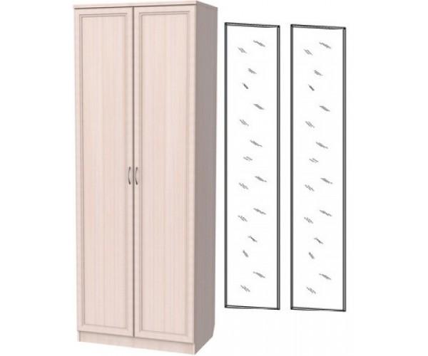 Шкаф для белья со штангой и полками 101+2 зеркала 3100 молочный дуб