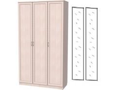 Шкаф для белья 3-х дверный 106+2 зеркала 3100 молочный дуб