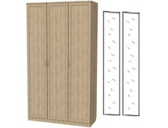 Шкаф для белья 3-х дверный 106+2 зеркала 3100 дуб сонома