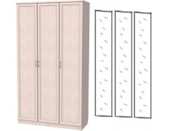 Шкаф для белья 3-х дверный 106+3 зеркала 3100 молочный дуб