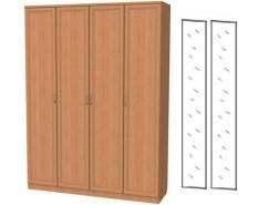 Шкаф для белья со штангой и полками 109+2 зеркала 3100 ольха