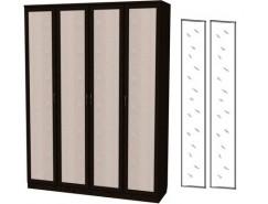 Шкаф для белья со штангой и полками 109+2 зеркала 3100 венге