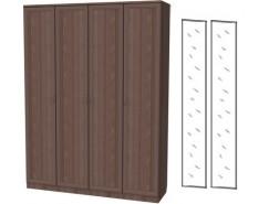 Шкаф для белья со штангой и полками 109+2 зеркала 3100 ясень шимо