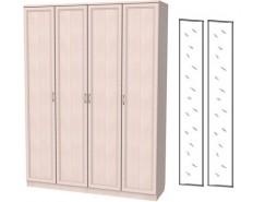 Шкаф для белья со штангой и полками 109+2 зеркала 3100 молочный дуб