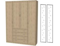 Шкаф для белья со штангой, полками и ящиками 110+2 зеркала 3100 дуб сонома