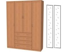 Шкаф для белья со штангой, полками и ящиками 110+2 зеркала 3100 ольха