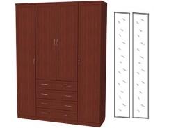 Шкаф для белья со штангой, полками и ящиками 110+2 зеркала 3100 итальянский орех