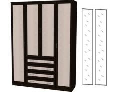 Шкаф для белья со штангой, полками и ящиками 110+2 зеркала 3100 венге